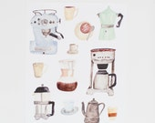 Coffee Lovers - Watercolor Illustration Print  - 8 x 10