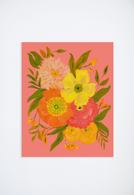 Painted florals coral yellow flowers floral print 8 x etsy image 0 mightylinksfo