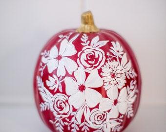 """Medium Hand Painted Pumpkin - White Florals on Burgundy - 6"""""""