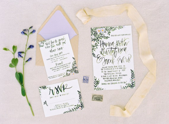Tuscan Themed Wedding Invitations: Tuscan Inspired Greenery Wedding Invitations Calligraphy