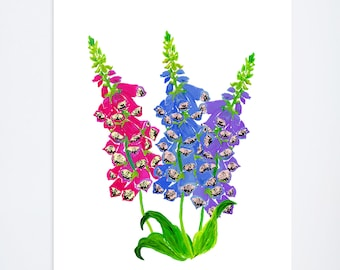 Foxglove Floral Print - 8 x 10 - Watercolor - Illustration - Art Print