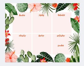 """Notepads - Tropical Leafs And Florals - Weekly Planner Notepad - 8.5"""" x 11"""" - Planner - Mouse pad - Floral Print"""