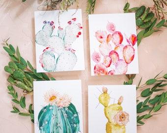 Watercolor Cacti Set of 4 Art Prints - 8 x 10  - Illustration - Art Print