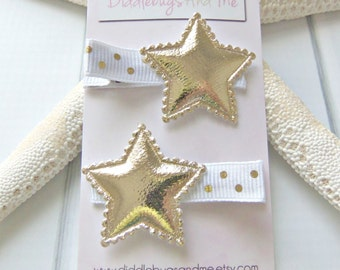 Gold Star Hair Clips, Gold And White Star Hair Clips, Girls Hair Clips, Star Hair Clips, Piggy Tail Clips, Girls Hair Accessory, Nautical