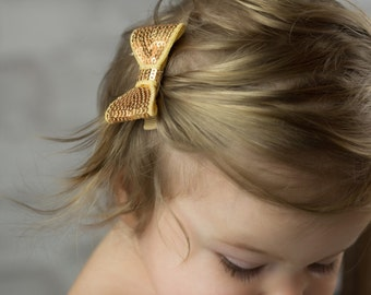 Gold Sequin Hair Bow, Gold Piggy Tail Bows, Girls Hair Bow, Gold Hair Bow, Toddler Hair Bows, Baby Hair Bows, Holiday Sequin Bows