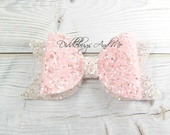 Pink and White Glitter Hair Bow, Back To School Bows, Gift For Girls, Toddler Bow Clips, Girl's Large Bow, Birthday Glitter Bow,