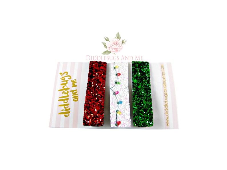 Set of 3 Christmas Bar Clips Toddler Bar Clips Christmas Lights Hair Clips Fringe Clips Glitter Fringe Clips, Gift For Girls