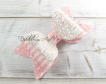 White And Pink Glitter Hair Bow, Back To School Bows, Gift For Girls, Toddler Bow Clips, Girl's Large Bow, Birthday Glitter Bow,