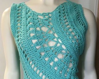 Crochet crop top, tank top, summer shirt, summer top, bathing suit cover up, handmade, crochet shell, cotton top