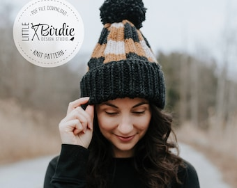 KNIT PATTERN   Knit Hat   Winter Hat   The Waterbury Plaid Hat   Instant Download