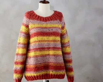 Plus Size Sweater - Hand Knitted Sweater - Striped Sweater - Orange Sweater - Colorful Sweater - XL Women's Sweater - Gift for Her