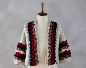 Love and Knit Cardigan - Handmade Cardigan - One of a Kind - Unique - Crochet Cardigan - Knitted Cardigan - Colorful Knit - Gift for Her