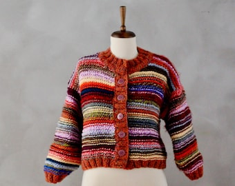 Chunky Sweater / Chunky Knit Sweater / Cardigan / Handmade Sweater / Hand Knitted Sweater / Rainbow Clothing / Rainbow Sweater Gift for Her