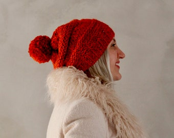 Slouchy Beanie with Pompom- Orange with Sparkles, Christmas Gift