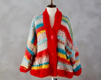 Love and Knit Cardigan - Handmade Cardigan - One of a Kind - Unique - Hand Knitted Cardigan - Knitted Cardigan - Colorful Knit- Gift for Her