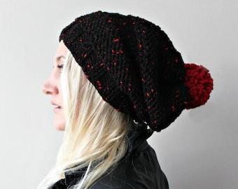 pom pom beanie black slouchy hat knit pompom hat slouchy beanie hand knit pom pom beanie chunky pom pom hat red pom pom hat knit beanie