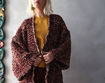 Plus Size Cardigan Oversized Sweater Red Plus Size Sweater Oversized Cardigan Hand Knit Sweater Handmade Long Pullover
