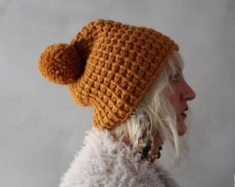 Chunky Hat - Chunky Pompom Hat - Pom pom Hat - Orange Beanie - Knit Hat - Chunky Beanie - Pom pom Beanie - Gift for Her - Christmas Gift