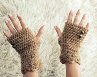 Fingerless Gloves, Womens Winter Gloves, Half Finger Gloves, Beige Fingerless Gloves with Button, Alpaca Fingerless Gloves, Gift for Her