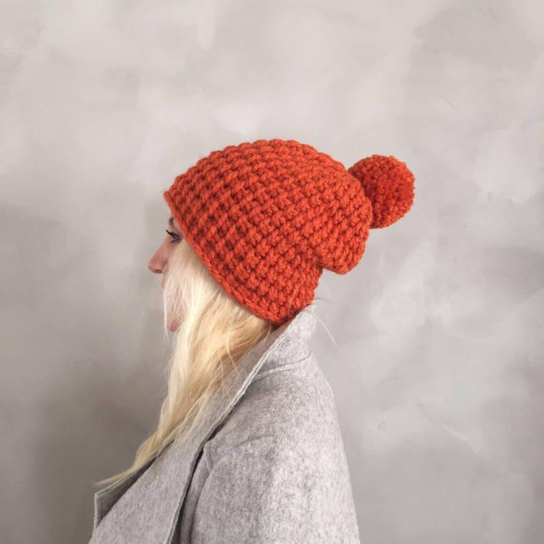 0b601d86474f12 Chunky Hat Chunky Pompom Hat Pom pom Hat Orange Beanie | Etsy