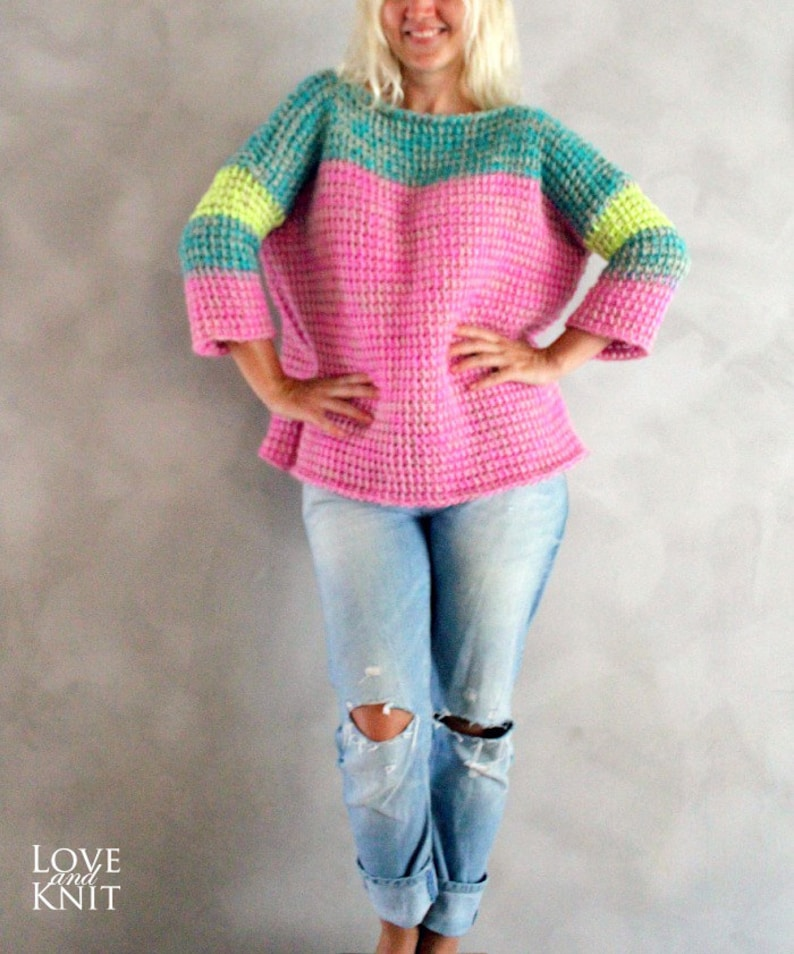 7fba8f1afe07d Hand Knitted Pink Neon Yellow Turquoise Sweater Handmade