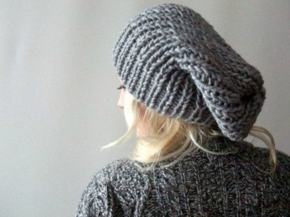 Slouchy knit beanie . loose beanie hat . grey slouchy beanie  16879e588dc