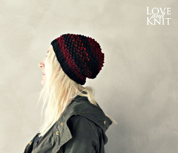 84b8de0c3 red slouchy hat black slouchy hat red black knit hat knitted beanie hand  knit slouchy hat beanie . striped beanie women . baggy hat