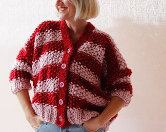 Chunky Sweater / Chunky Knit Sweater / Cardigan / Handmade Sweater / Hand Knitted Sweater / Red Pink Striped / Sweater / Gift for Her