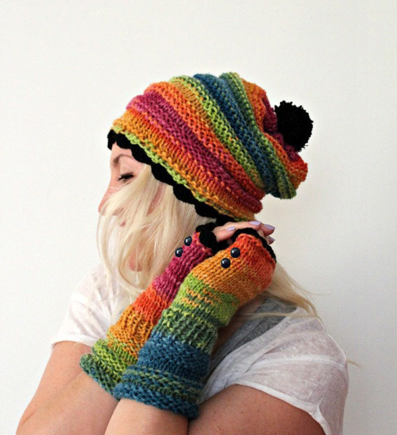 d13a79c57cc4b Rainbow Hat and Gloves Set Colorful Pom Pom Beanie Fingerless