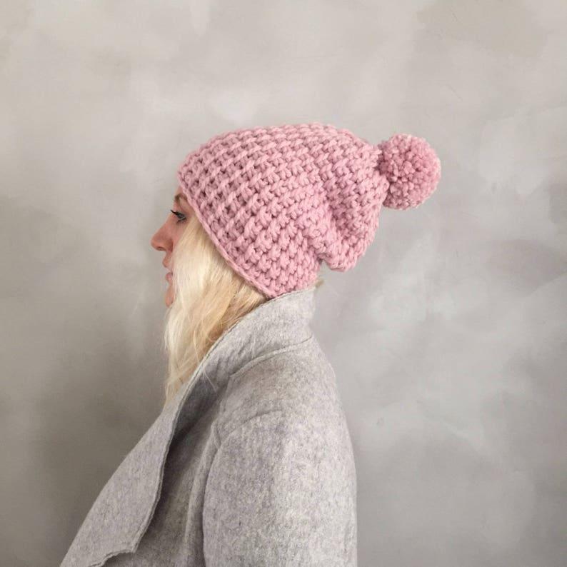 9de545afa125a5 Chunky Hat Chunky Pompom Hat Pom pom Hat Pink Knit Hat | Etsy