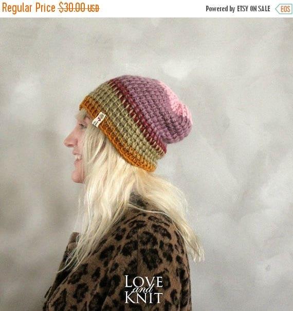 Sale Skull Cap Beanie   Orange Pink Purple Hat   Slouchy  b765b5760