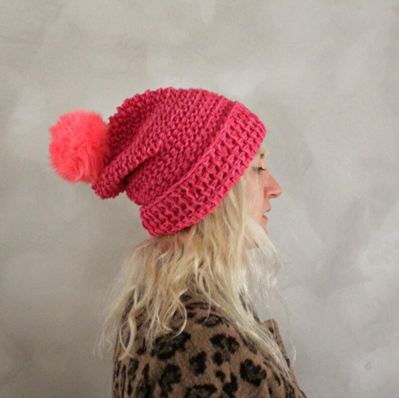 Pom Pom Beanie   Hot Pink   Womens Knit Beanie   Fur Pom Pom  40e819e3fb