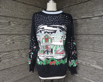 Vintage Ugly Christmas Sweatshirt Snowy Village Neighborhood Sweater 1X