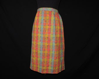 d639df3e4 vintage plaid pencil skirt 1960s bright color block small