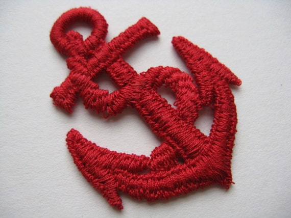 Red anchor patch 70s nautical appliqué military trim vintage etsy