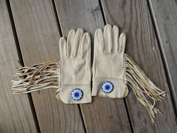 native fringed gloves vintage beaded ladies leathe