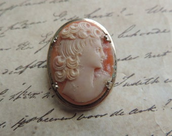 vintage cameo brooch classic silhouette carved lady lapel pin