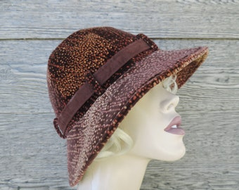 1960s velvet bucket hat vintage mod brown dotted wide brim cap