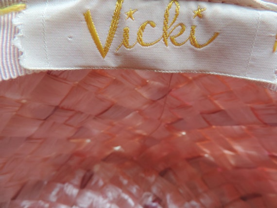 1960s pink pillbox hat straw netted veil cap Vick… - image 6