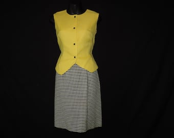 1960s checkered dress vintage black and white skirt suit small