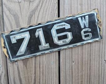 victorian address plaque 716 antique beveled glass sign