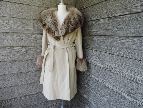 vintage fur collar jacket 1960s wool camel coat la