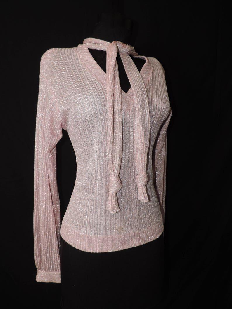 vintage pink tie neck sweater 1970s metallic ascot bow knit blouse medium