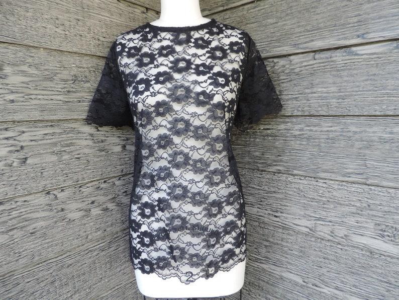d0d743e453c 60s black lace blouse vintage sheer lacy floral dress top XL