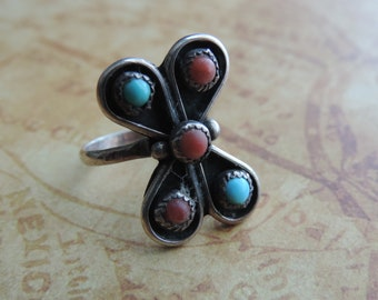 turquoise statement ring 1970s silver flower ring boho jewelry