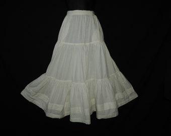 vintage prairie tiered skirt 1990s ivory full flare western midi small
