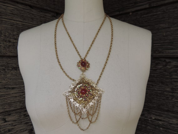 vintage ruby festoon necklace 1950s gold and red j