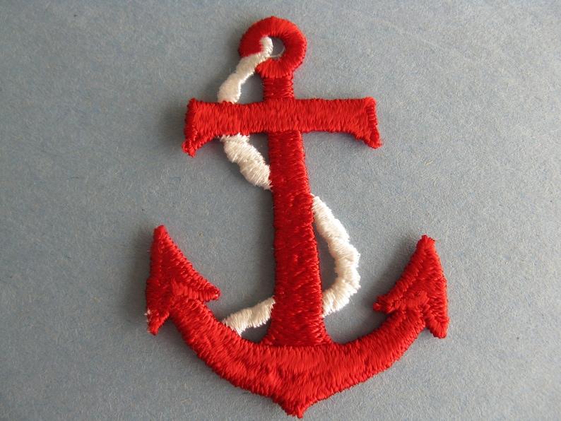 Nautical red anchor patch vintage large naval appliqué sailor etsy
