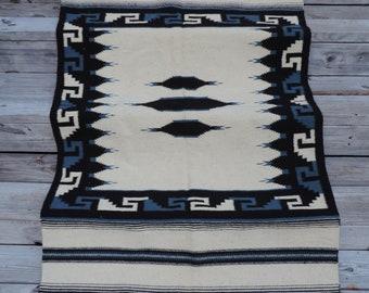 southwestern wool rug vintage earthy blue boho ethnic woven area rug