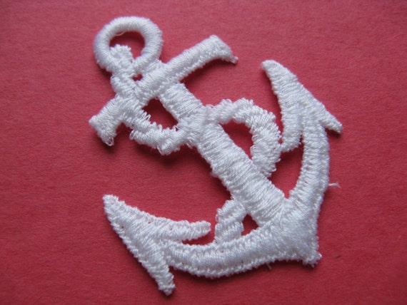 White anchor patch vintage nautical appliqué trim sailor etsy